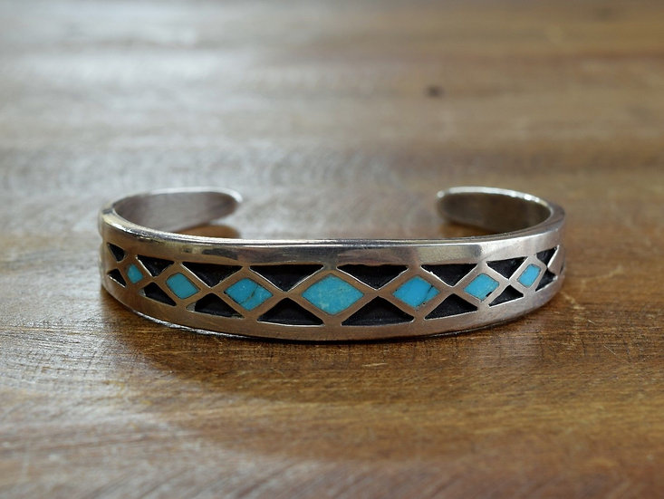 Vintage Navajo Sterling Silver Turquoise Inlay Cuff Bracelet