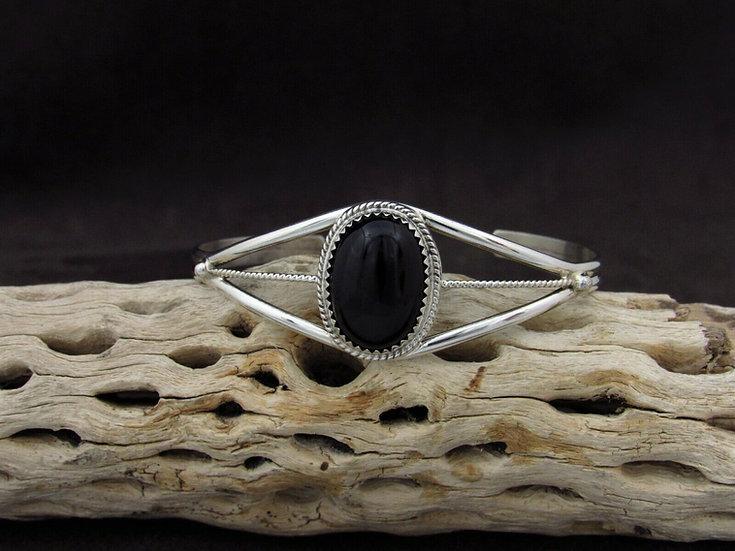 Southwestern Sterling Silver Onyx Cuff Bracelet