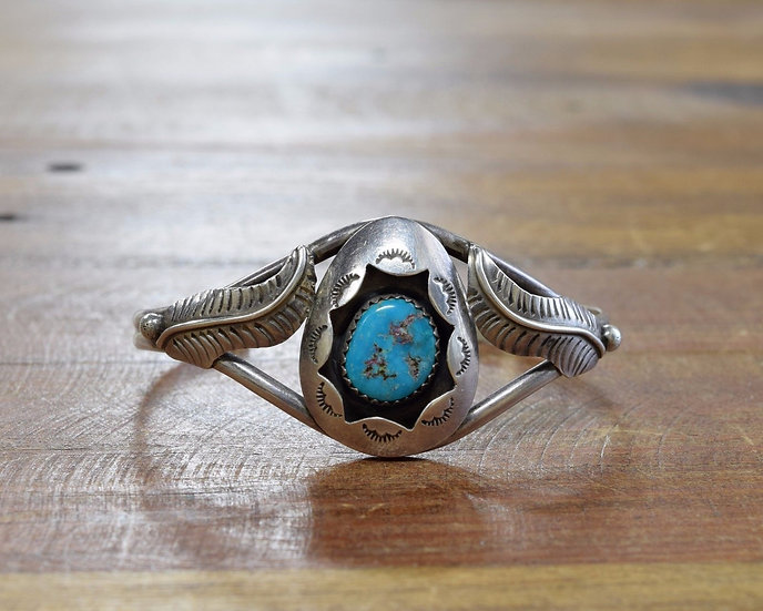 Navajo Goodluck Sterling Silver and Turquoise Shadow Box Cuff Bracelet