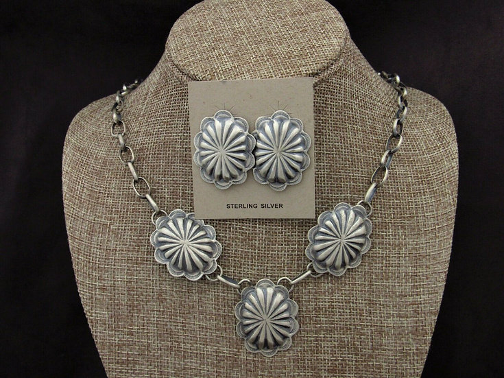Navajo Matte Sterling Silver Concho Necklace and Earrings Set