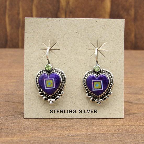 Multi Stone Inlay Sugilite Heart Earrings By Aldrich