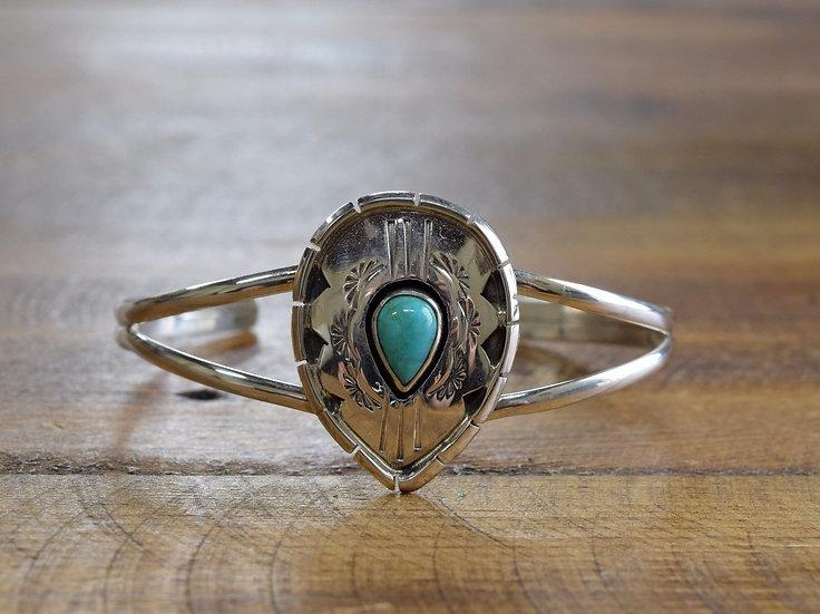Stunning Teardrop Turquoise Sterling Silver Bracelet