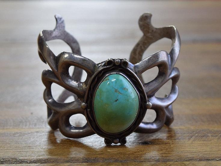 Vintage Southwest Turquoise Sterling Silver Sandcast Cuff Bracelet