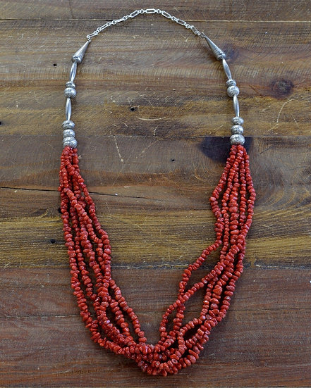 Sterling Silver and Red Coral Four Strand Necklace
