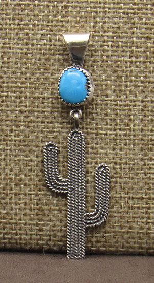 Sterling Silver Turquoise Saguaro Cactus Pendant