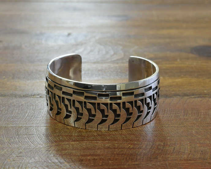 Sterling Silver Overlay Cuff Bracelet By Tim Yazzie