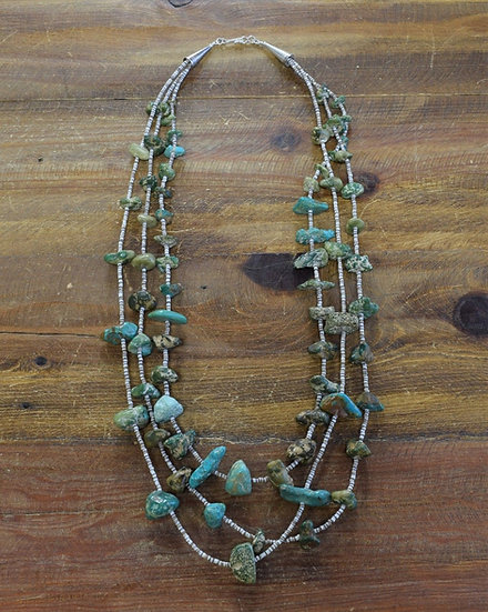 Vintage Navajo Turquoise and Shell Three-Strand Necklace