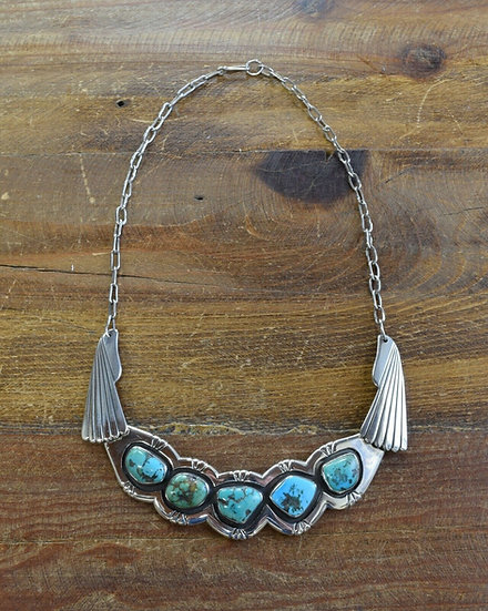 Vintage Navajo Shadowbox Turquoise Sterling Silver Necklace by Carl Begay