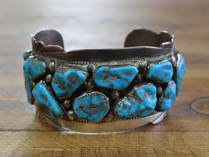 Zuni Sterling Silver Cuff With Turquoise Stones made by Eugene & Yvonne Mahooty
