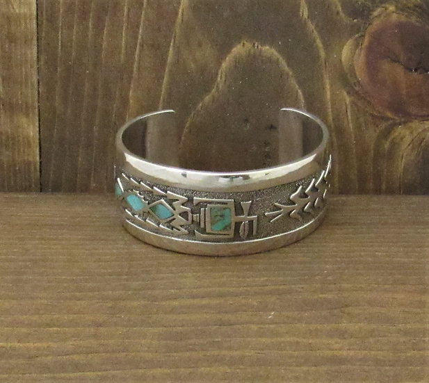 Vintage Navajo Sterling Silver Corn and Yei Cuff Bracelet with Turquoise and Cor