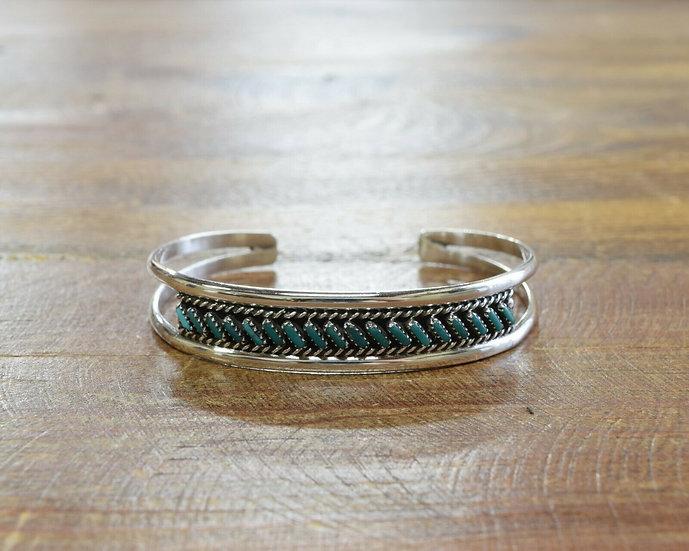 Vintage Zuni Turquoise Sterling Silver Cuff Bracelet