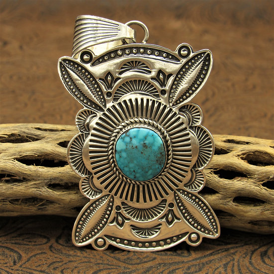 Ornately Stamped Sterling Silver Turquoise Pendant