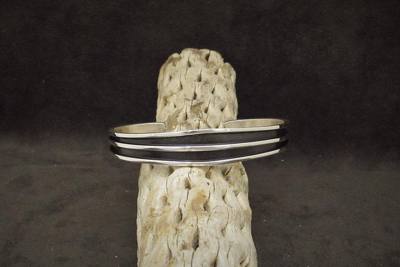 Navajo Sterling Silver Cuff Bracelet by Tom Hawk