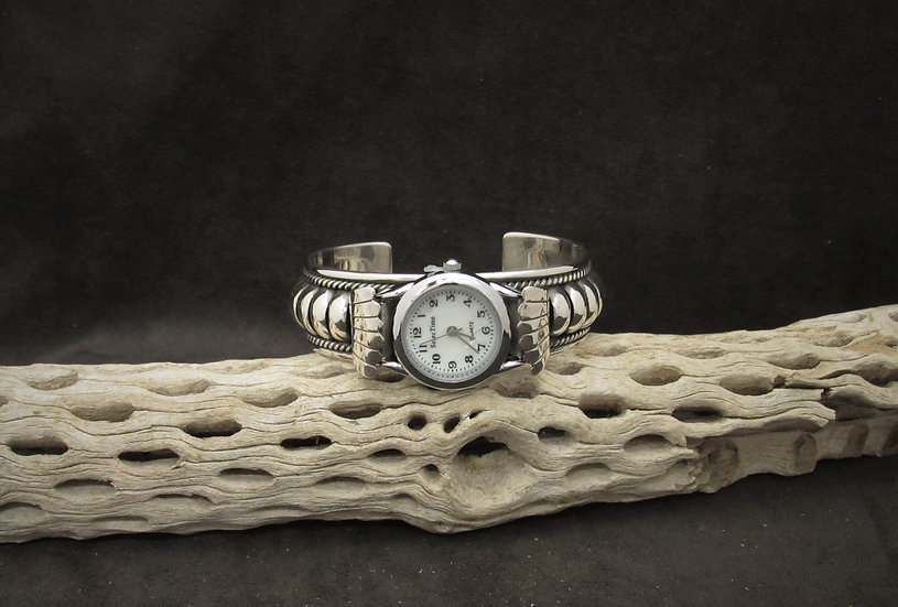 Navajo Sterling Silver Watch Cuff Bracelet by Thomas Charley