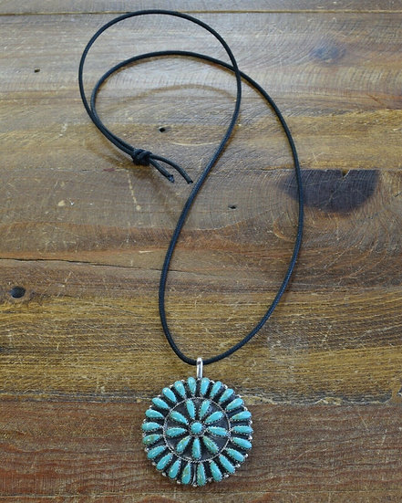 Vintage Southwestern Faux Turquoise Cluster Necklace