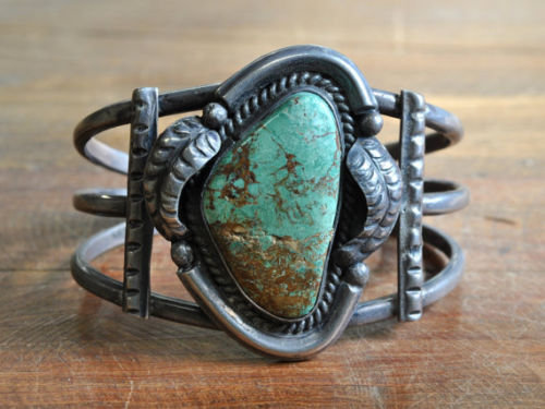 Vintage Southwest Sterling Silver And Green Turquoise Cuff Bracelet