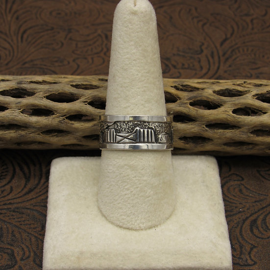 Southwest Sterling Silver Story Ring Size 10