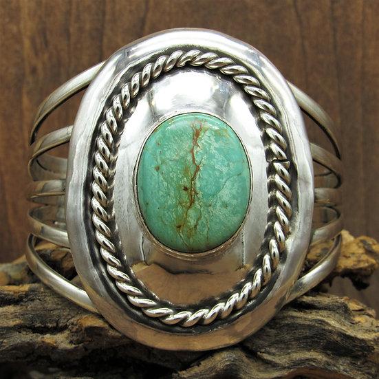 Large Vintage Sterling Silver and Turquoise Split Shank Cuff Bracelet