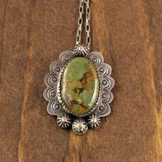 Sterling Silver and Green Turquoise Pin/Pendant by Lonnie Willie
