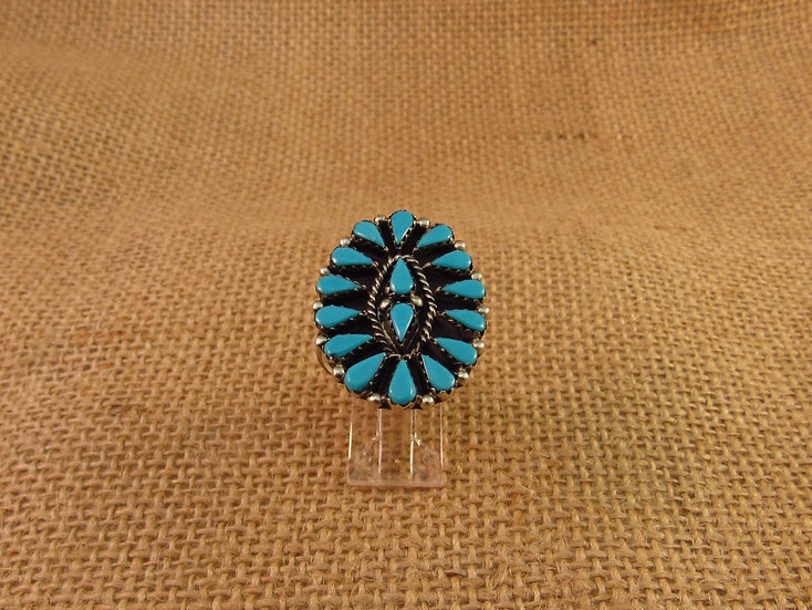 Zuni Petit Point Turquoise Sterling Silver Ring Size 12