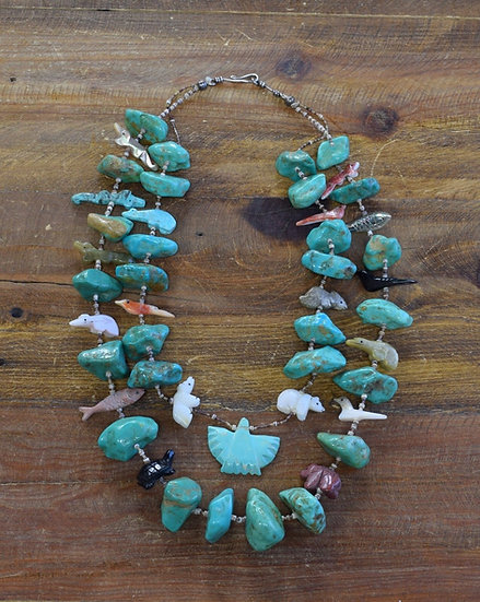 Vintage Turquoise Nugget and Fetish Necklace