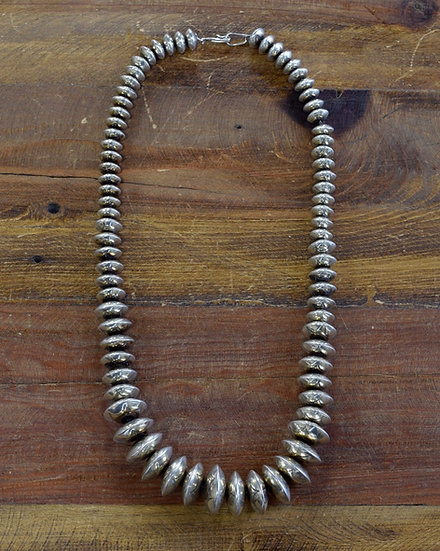 Vintage Southwest Sterling Silver Graduated Stamped Bead Necklace