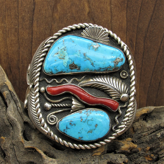 Large Sterling Silver Coral and Turquoise Southwestern Cuff Bracelet