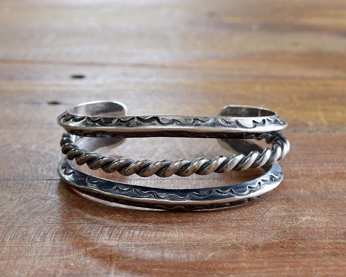 Vintage Southwest Sterling Silver Split Shank Cuff Bracelet