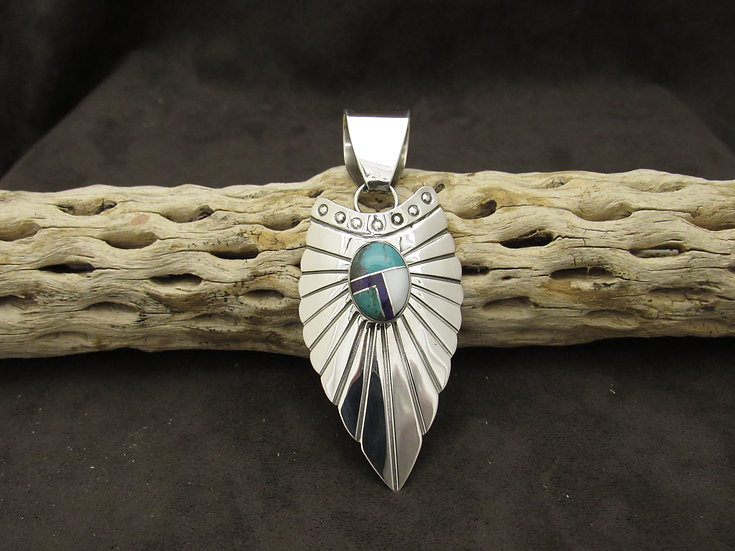 Navajo Sterling Silver Shield Pendant with Inlay Multi Stone by G Howe