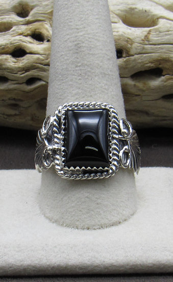 Navajo Made Onyx and Sterling Silver Ring Size 11