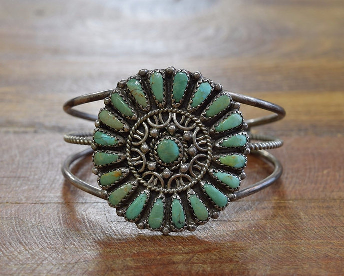 Southwest Sterling Silver and Green Turquoise Cluster Bracelet