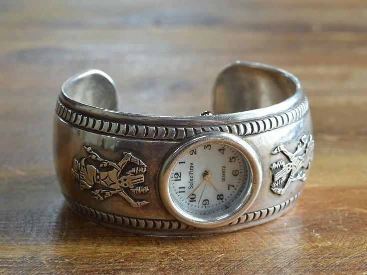 Vintage Southwest Crown Dancer Kachina Sterling Silver Watch Cuff Bracelet