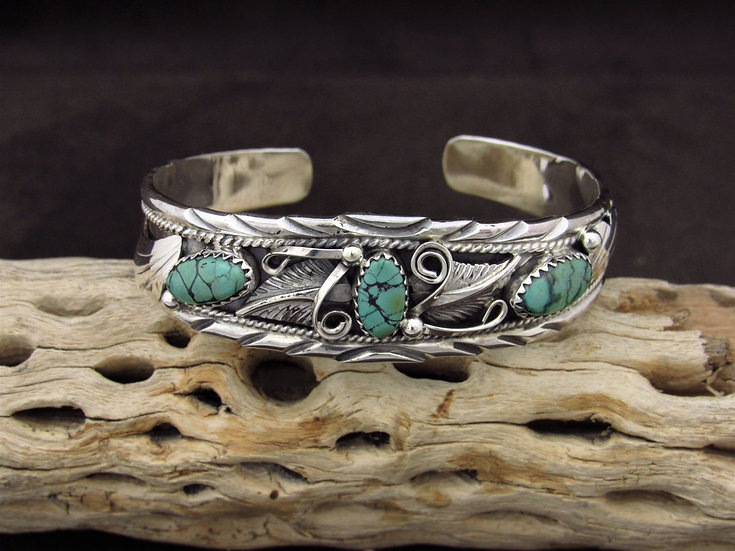 Navajo Sterling Silver Turquoise Cuff Bracelet by Davey Morgan