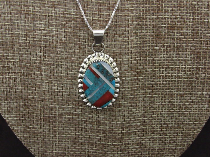 Turquoise and Coral Inlay Sterling Silver Pendant with Chain