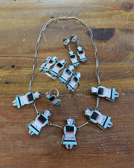 Vintage Zuni Sterling Silver Multi-Stone Inlay Maiden Set Theresa Waseta