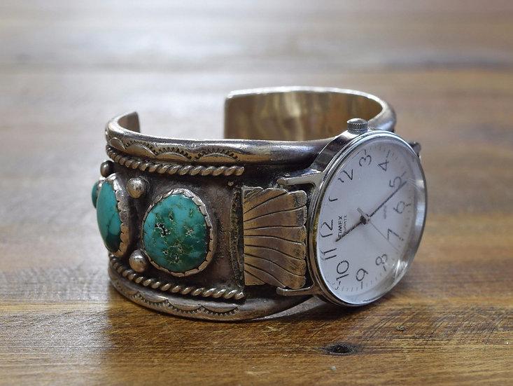 Vintage Southwest Turquoise Sterling Silver Watch Cuff Bracelet