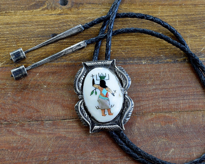 Sterling Silver Apache Crown Dancer Inlay Bolo Tie