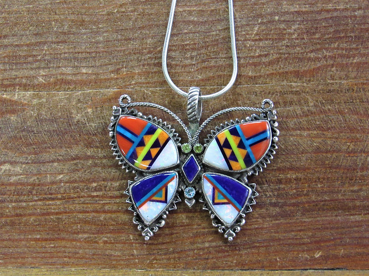 Vintage Sterling Silver Multistone Inlay Aldrich Butterfly Pendant with Chain