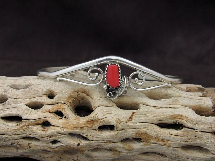 Beautiful Sterling Silver Coral Cuff Bracelet