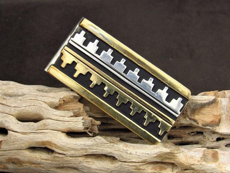 Navajo Sterling Silver Brass Money Clip By Rosita Singer