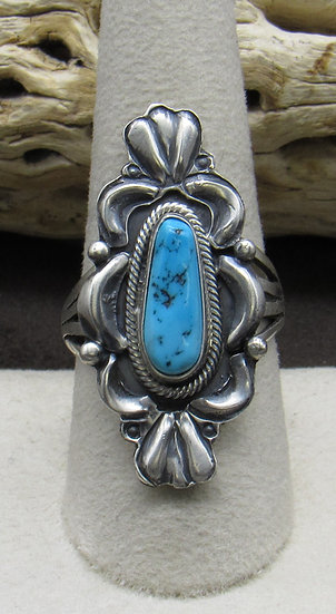 Beautiful Turquoise and Sterling Silver Ring Size 9 1/2