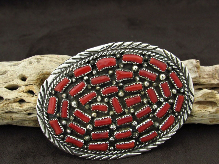 Navajo Multi-Stone Coral Sterling Silver Belt Buckle