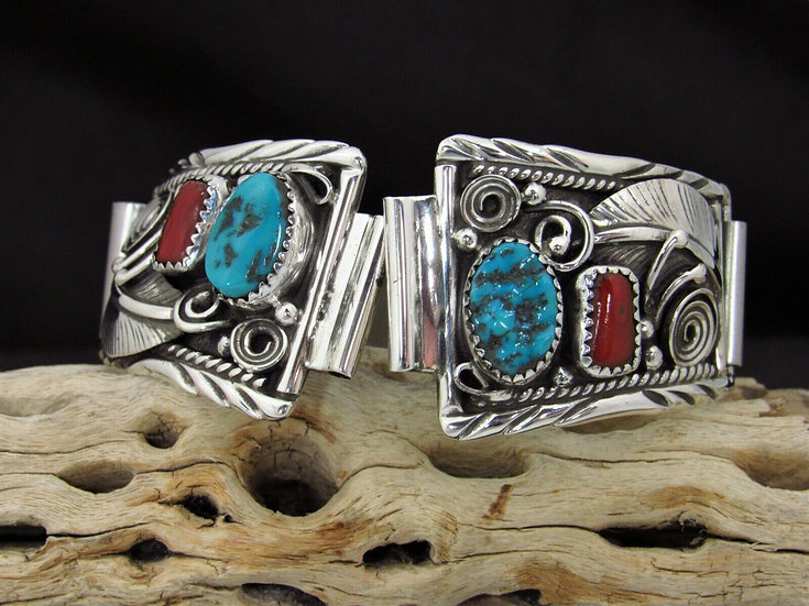 Turquoise and Coral Sterling Silver Watch Band