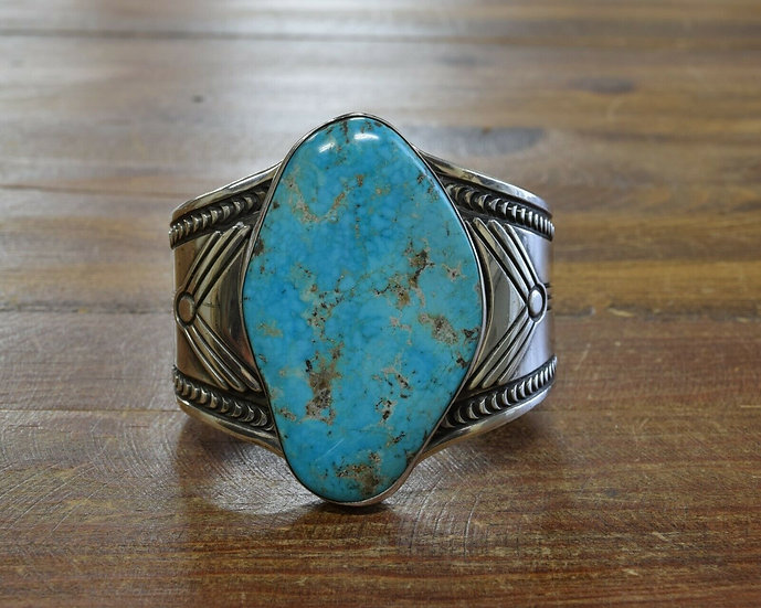 Vintage Navajo Sterling Silver Morenci Turquoise Cuff Bracelet by Jerry Roan