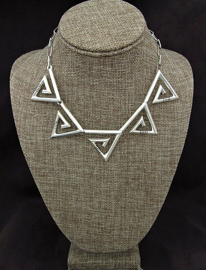 Southwestern Triangular Sterling Silver Swirl Necklace