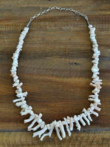 Vintage Navajo Sterling Silver Angelskin Coral Branch Necklace