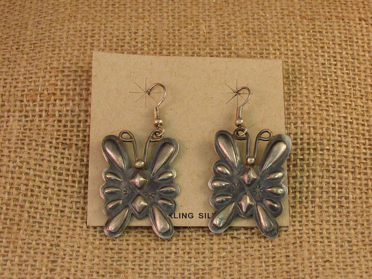 Navajo Repousse Butterfly Sterling Silver Dangle Earrings