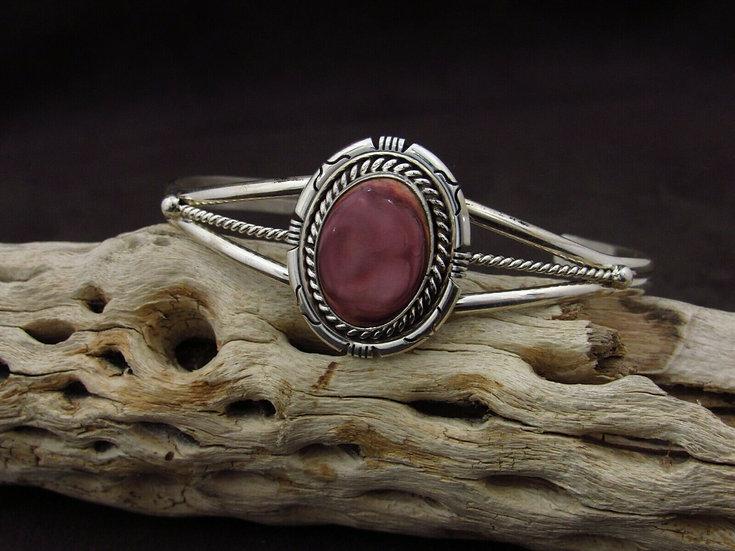 Navajo Purple Spiny Oyster Sterling Silver Cuff Bracelet by S. Skeets