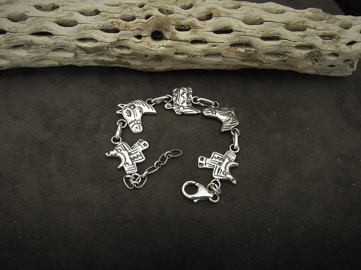 Southwest Sterling Silver Cowboy Link Bracelet by Russell Sam