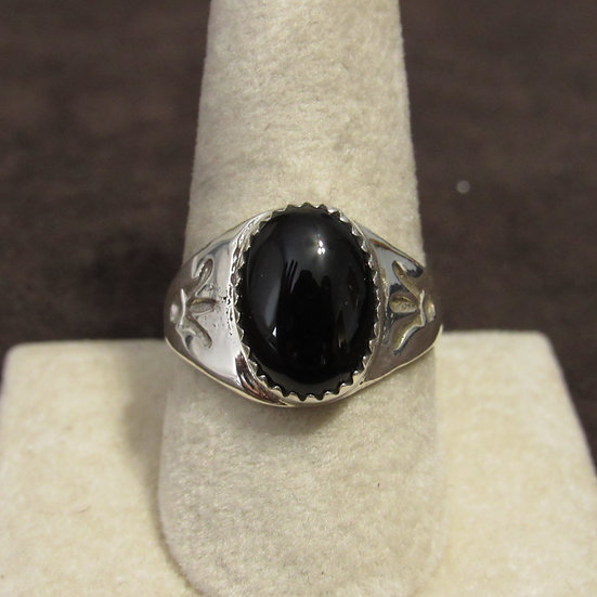 Southwest Sterling Silver and Black Onyx Men's Ring Size 8.75